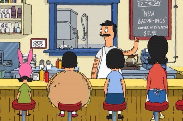 The cast of Bobs Burgers sits at the bar in order of height