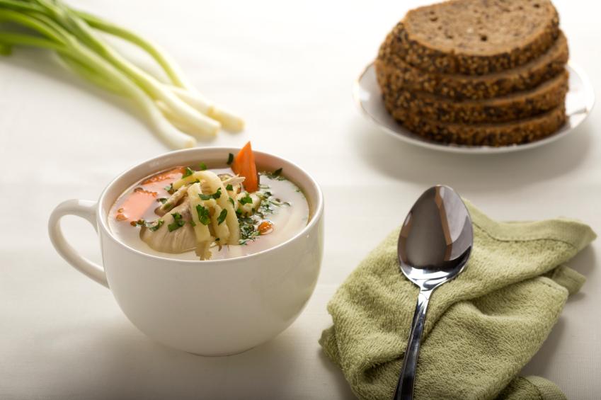 chicken soup in a mug