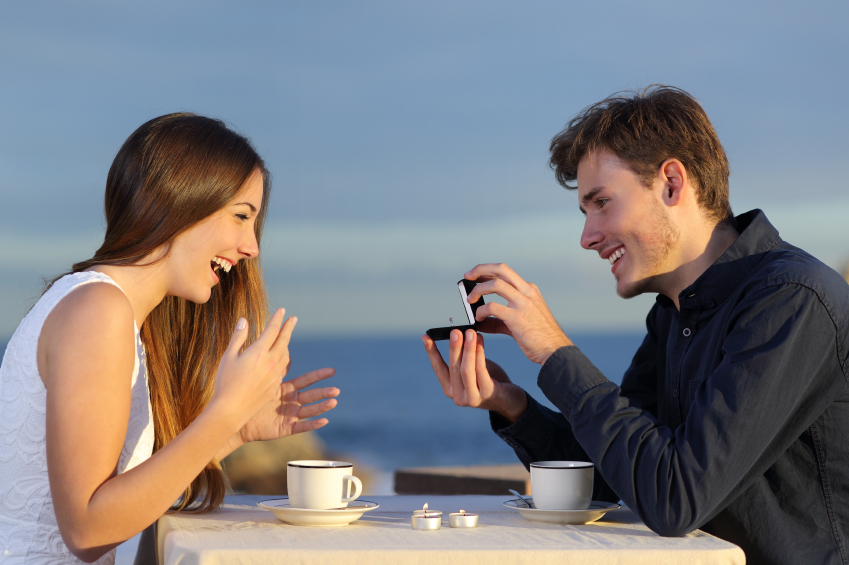 woman getting proposed to