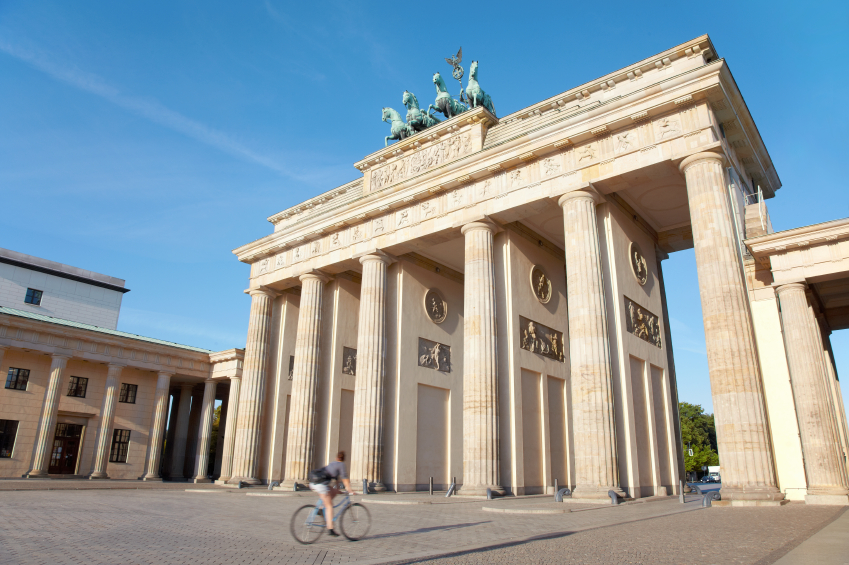 A cyclist taking in the sights in Berlin