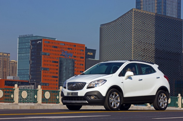 Side view of white Buick Encore, 2016 model year