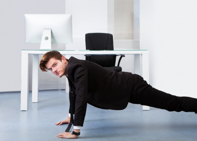 Businessman Doing Pushups, office, work, exercise