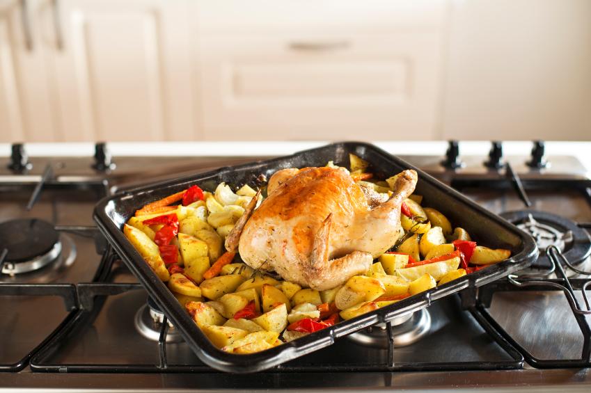 roast chicken, vegetables