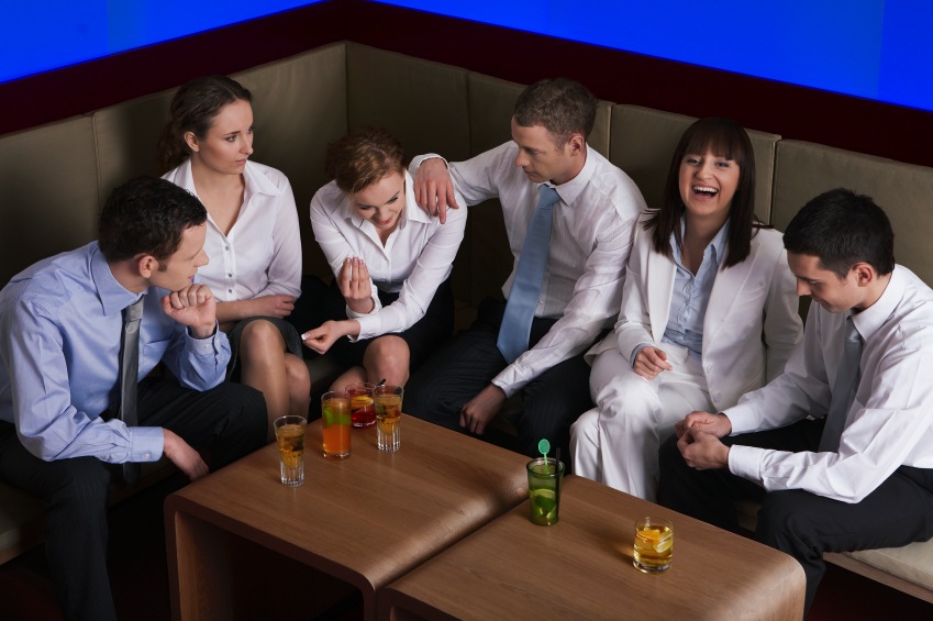 Co-workers share a drink