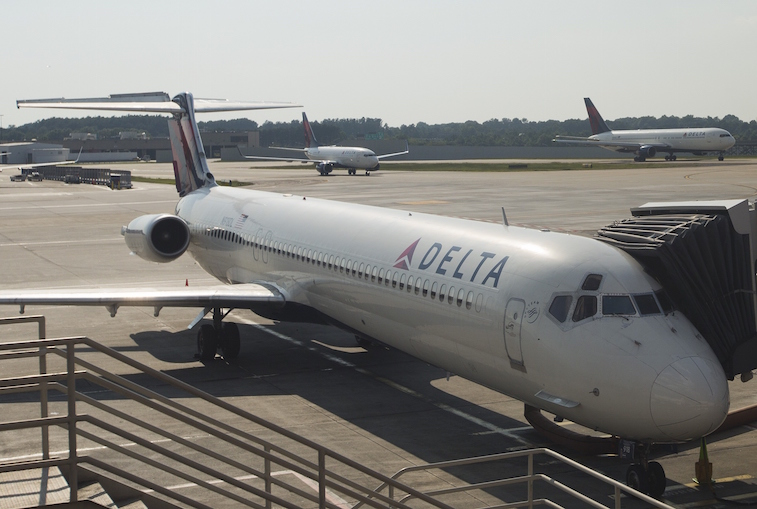 Delta Airlines plane at gate