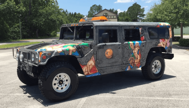 Dennis Rodman's old H1 Hummer was so ugly and sexually obscene that we had to blur out quite a a bit of its paint job in order to include on this cheat sheet   bruce kesh via YouTube