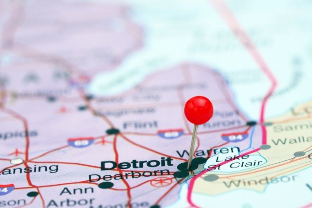 Detroit on a map