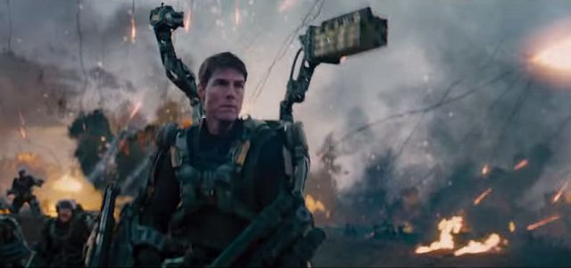 Tom Cruise prepares for battle in heavy gear in Edge of Tomorrow