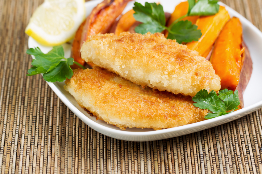 breaded fish, sweet potato fries, fish and chips