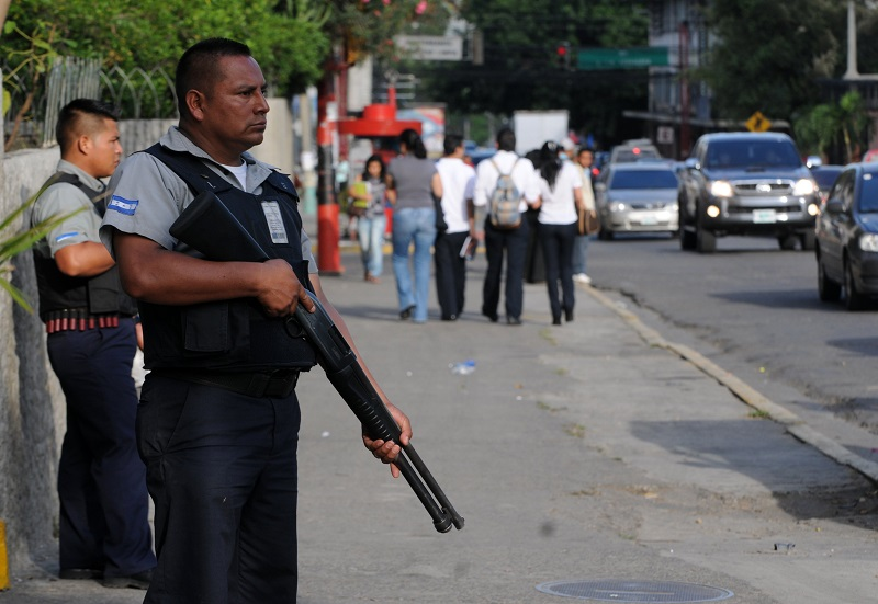 Security guards in San Pedro Sula