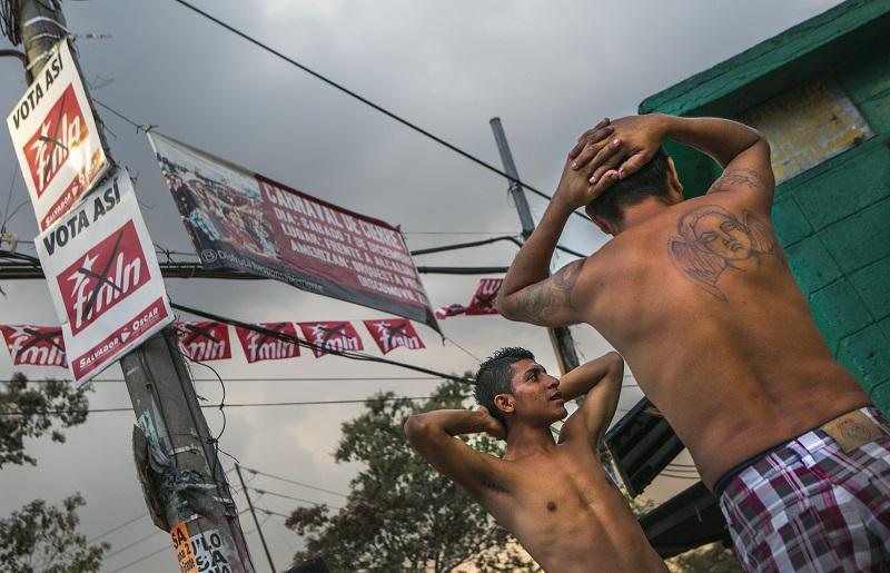 Gang members in San Salvador