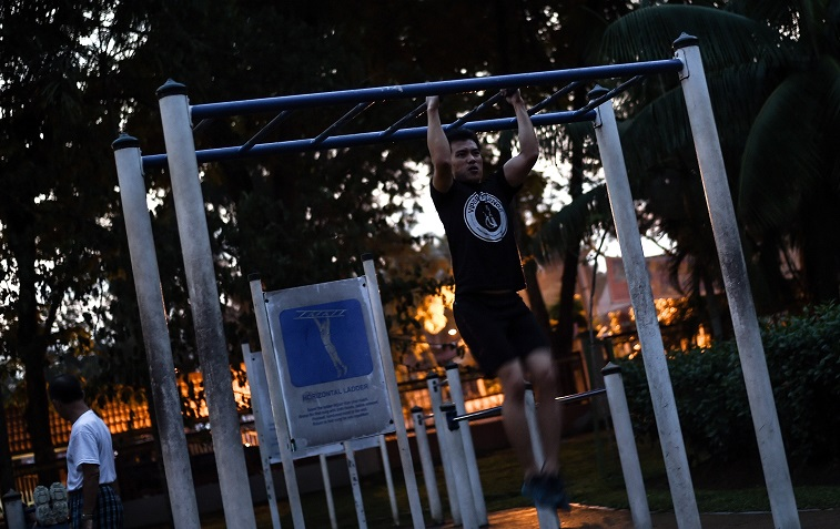 Chin-ups in the park