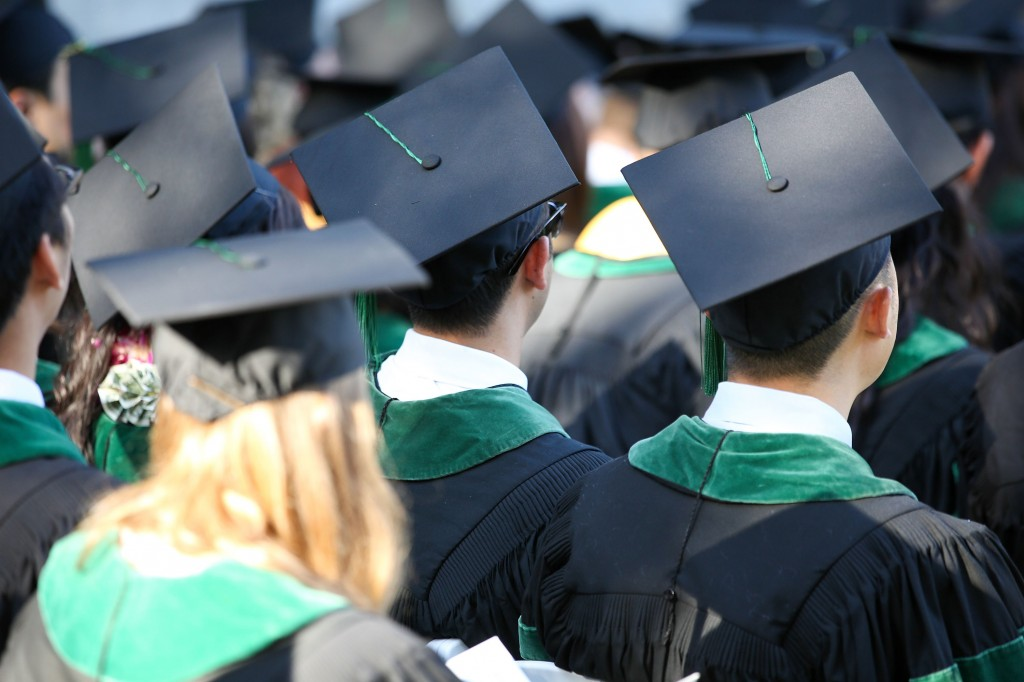 college graduates at commencement