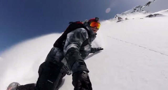 GoPro Camera on snowboarder's helmet
