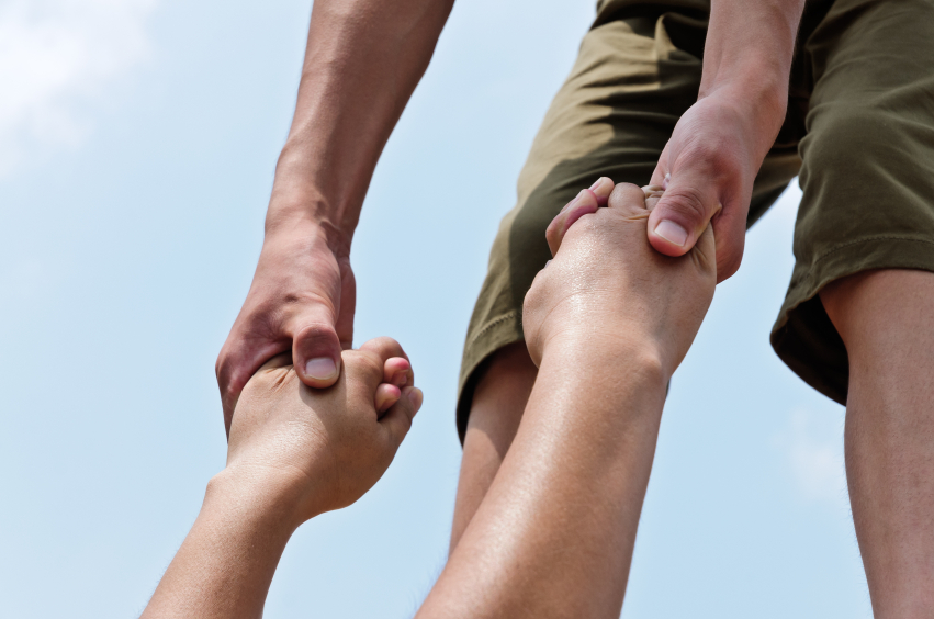 Hand in hand, helping, kindness