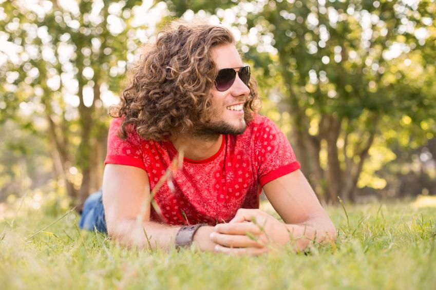curly hair, park, happy