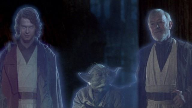 Hayden Christensen, Yoda, and Alec Guinness in Return of the Jedi