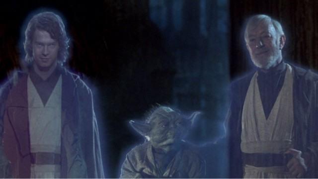 Hayden Christensen, Yoda, and Alec Guinness in Return of the Jedi