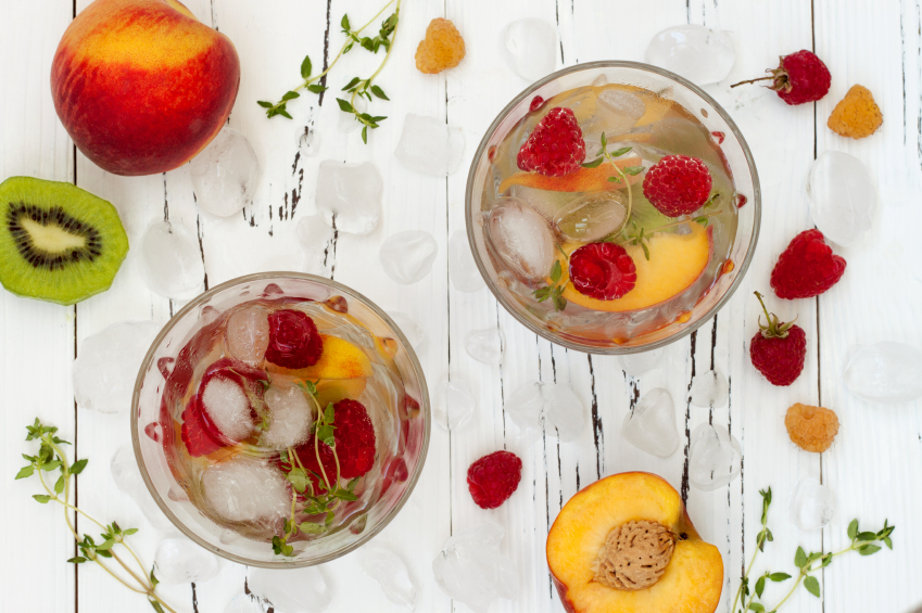 champagne cocktail with fruit