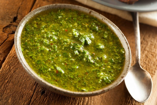 bowl of argentine sauce called chimichurri