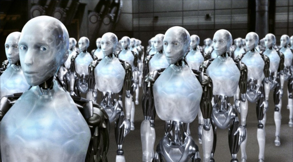 A line of robots in a large room in I, Robot