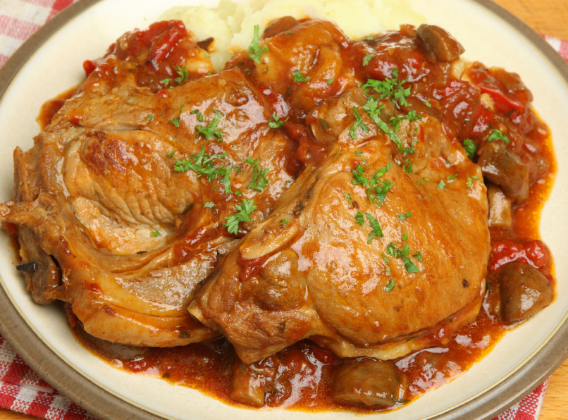 pork chops, mushroom sauce