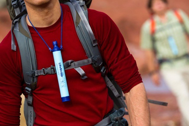 LIfestraw worn on lanyard camping