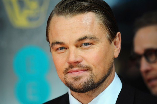 Leonardo DiCaprio wearing a suit and tie.