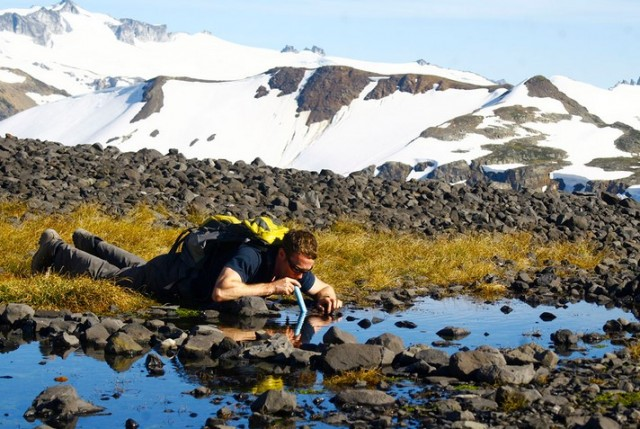 LifeStraw being used