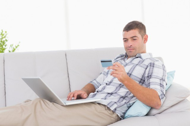 Man about to make an online purchase