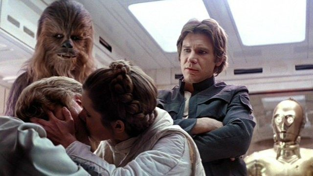Mark Hamill, Carrie Fisher, and Harrison Ford in The Empire Strikes Back