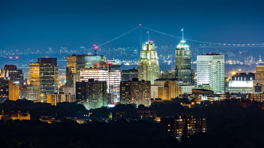 Newark skyline at night
