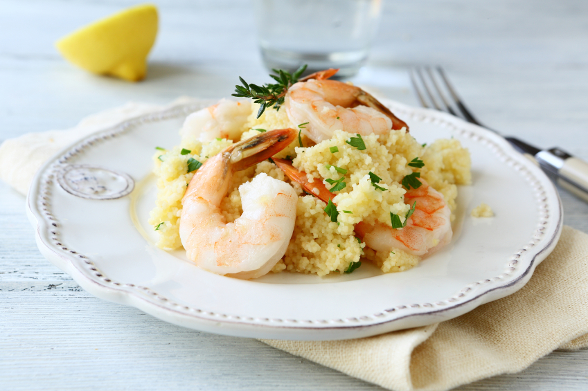 shrimp, couscous
