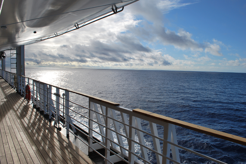 Ocean view from a cruise ship deck, boat, travel
