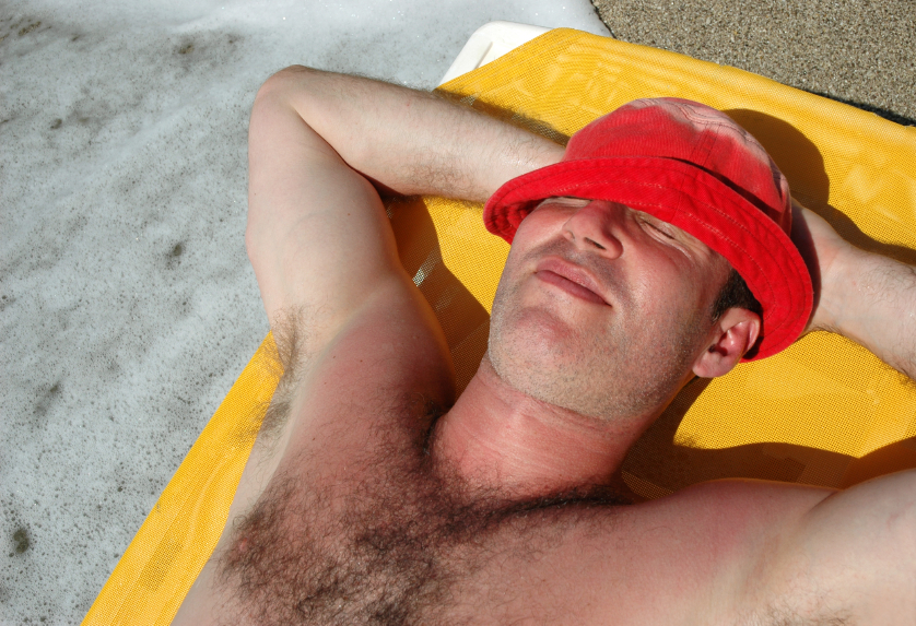 Man turning red from sun