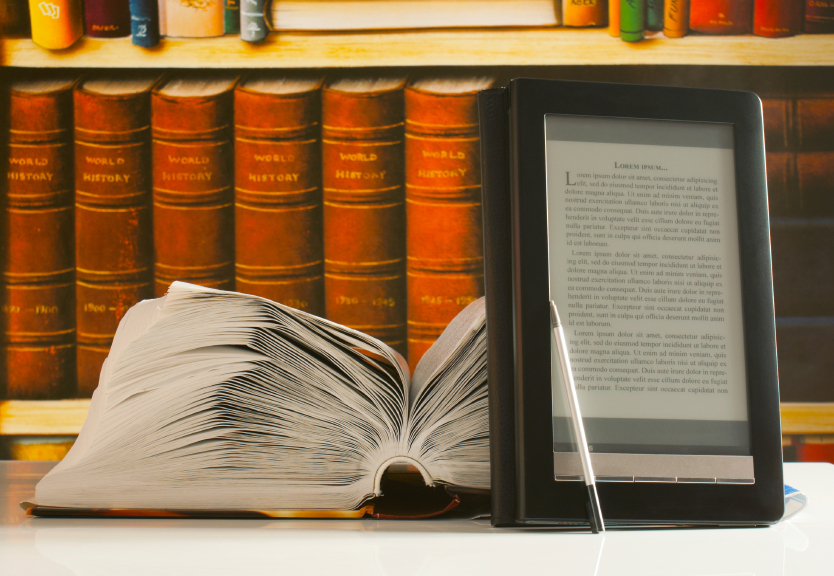 ereader and open book
