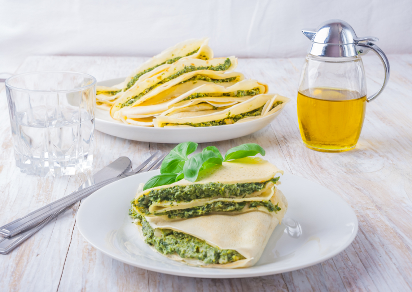 stuffed pancakes, spinach, cheese, crepes