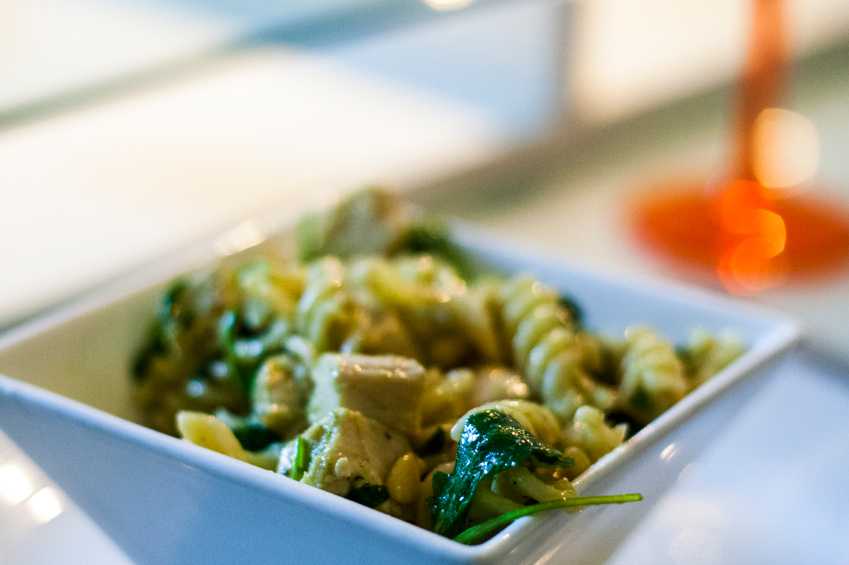 pesto, pasta, chicken