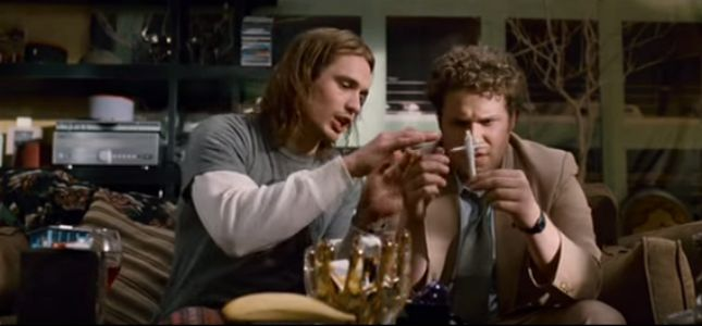 A scene from Pineapple Express with Seth Rogan and James Franco