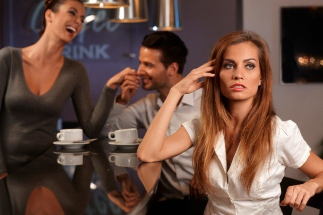 Portrait of unhappy confused woman, couple, flirting
