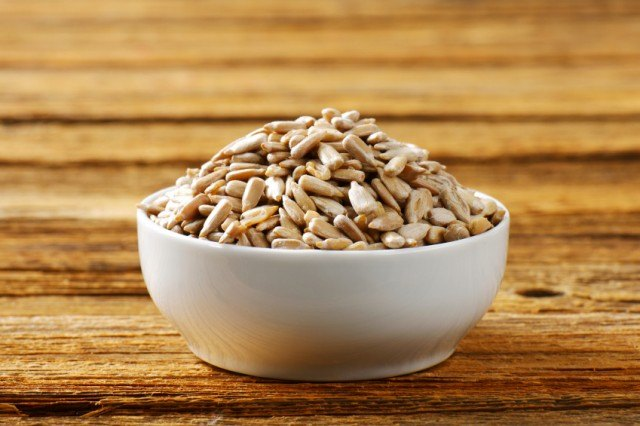 Sunflower seeds in a bowl