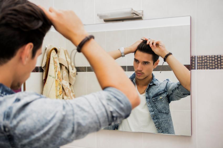 Man Brushing Hair, grooming