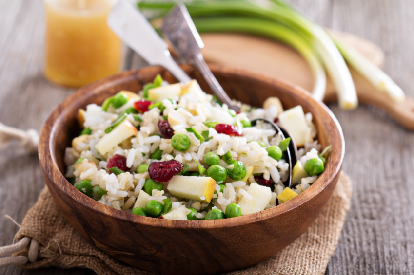 rice salad, apples, peas