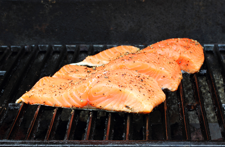 salmon on grill