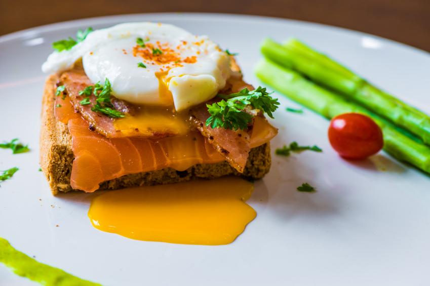 breakfast sandwich, poached egg, salmon