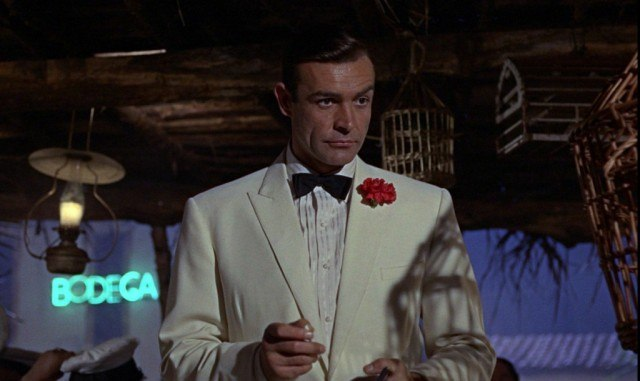 James Bond is in a white tux.