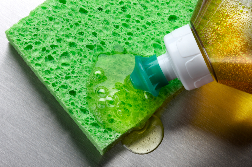 Dish soap on a sponge