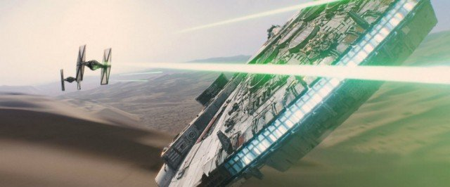 The Millennium Falcon as seen in 'Star Wars: The Force Awakens'