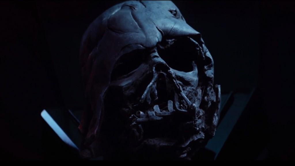 Darth Vader's burnt helmet in Star Wars: The Force Awakens