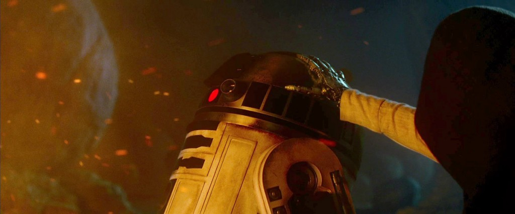 R2-D2 and a masked figure as seen in 'Star Wars The Force Awakens'